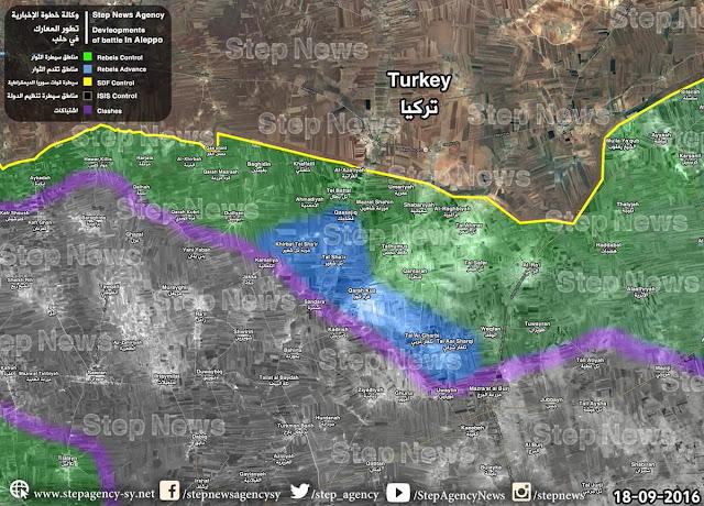 peta perbatasan turki di utara aleppo
