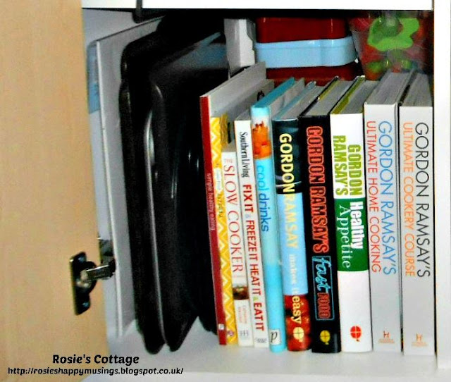 Lower shelf of kitchen cabinet with cookbooks & baking trays