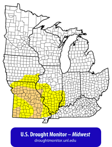 Drought map of the Midwestern United States for February 23rd, 2017 — from the U.S. Drought Monitor @ http://droughtmonitor.unl.edu