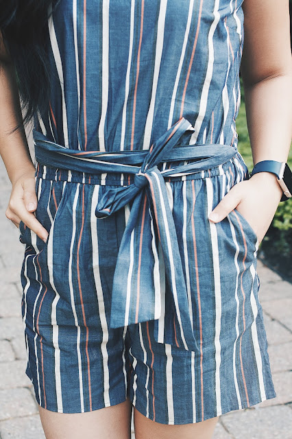 Jadoregrace.com// Romping Around Boston - Blue romper with Bow Sash