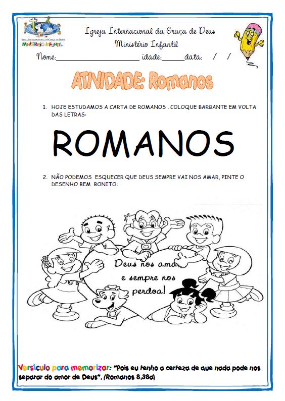 Ministério Infantil Cascavel: Atividades: Carta aos Romanos