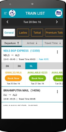 mobile train ticket booking