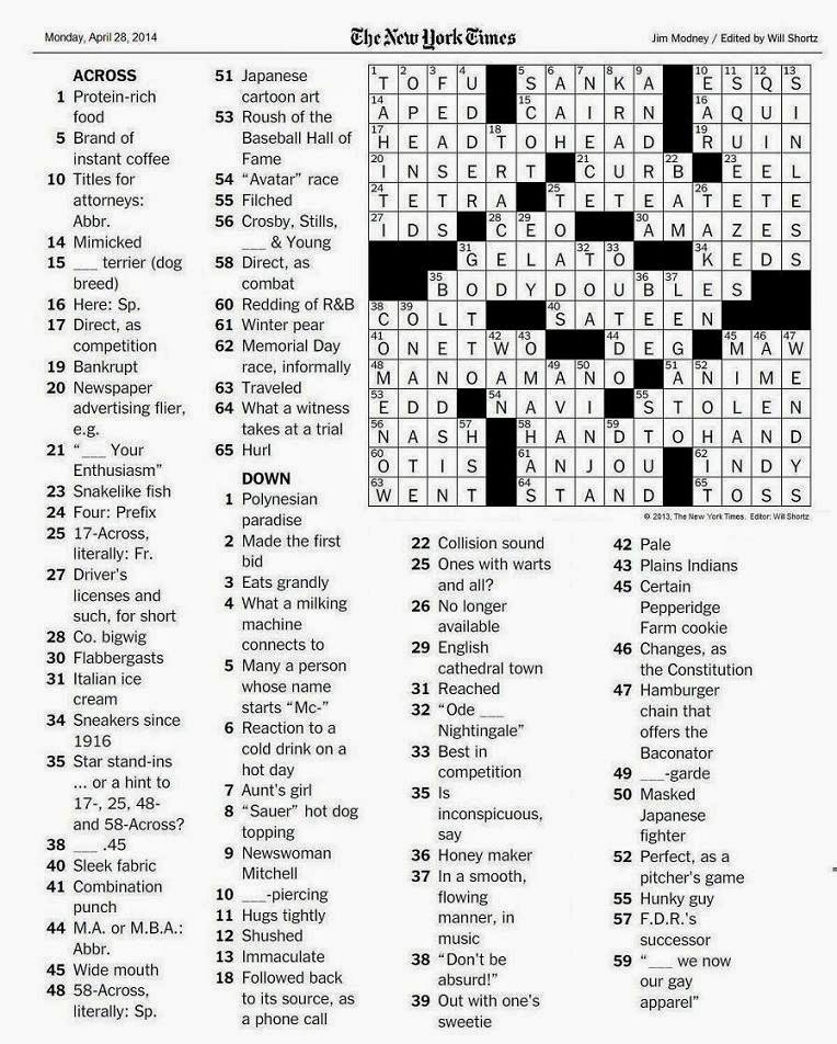 The New York Times Crossword in Gothic: 04.28.14 — Body