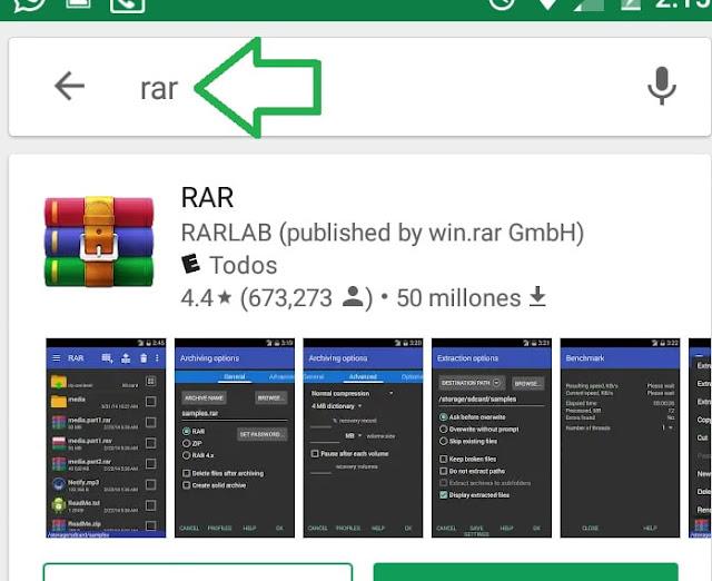 Abrir archivos rar en android paso 2