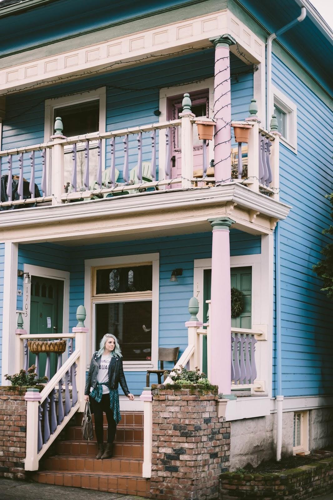Blue house, colorful house, Portland