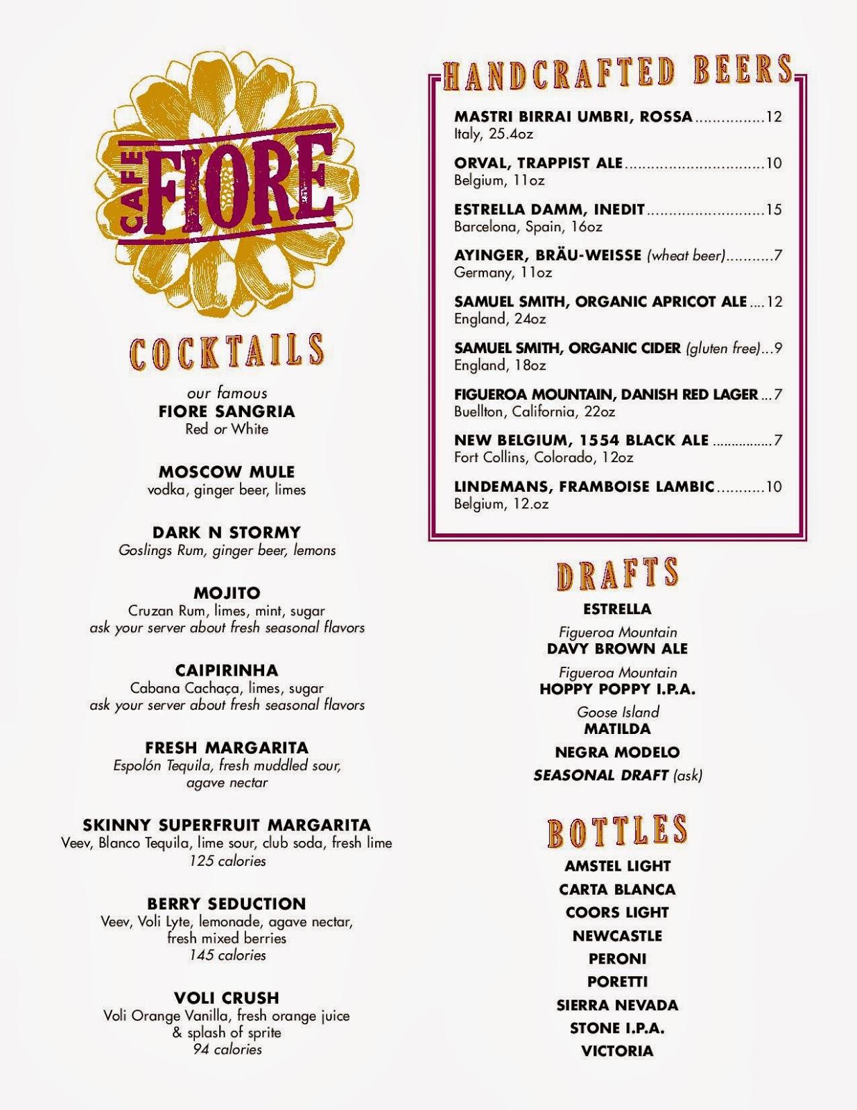 Vc Menu Cafe Fiore Ventura