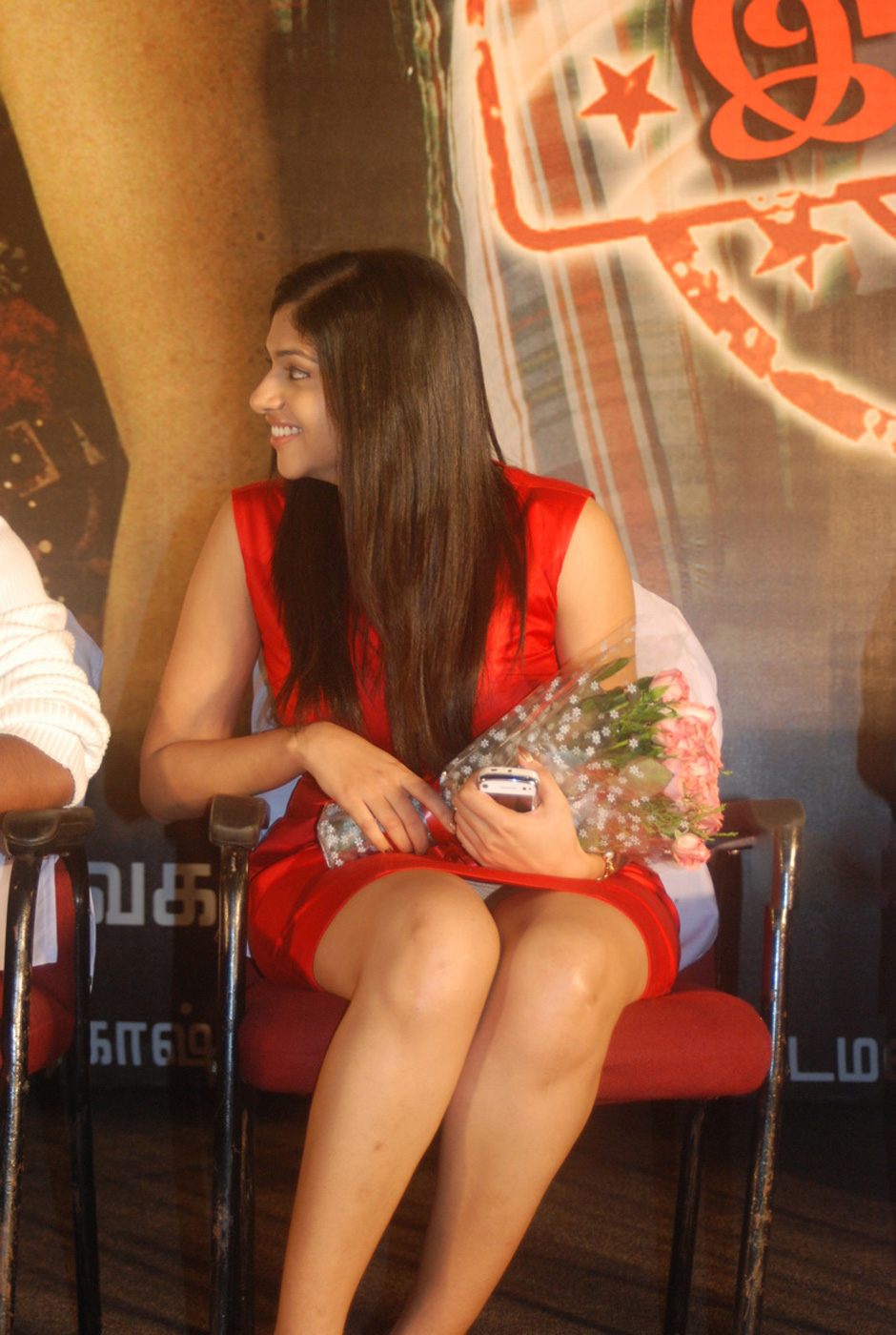 Lakshmi Nair Showing Her Underwear, Thighs and Giving Big Smile In The Audio Launch Event