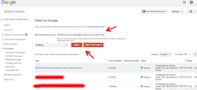 Screen Shoot Cara Menggunakan Fetch as Google - Tips dan Cara