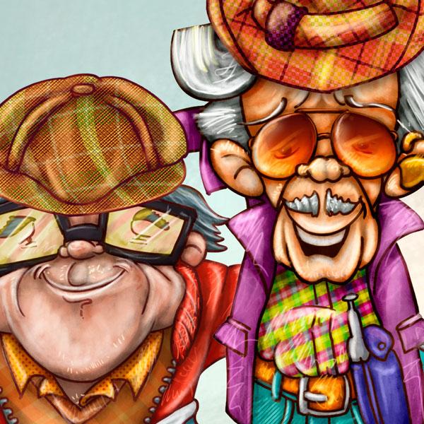 Ilustración y diseño de personajes. Adolfo y Rodolfo por Hache Holguín