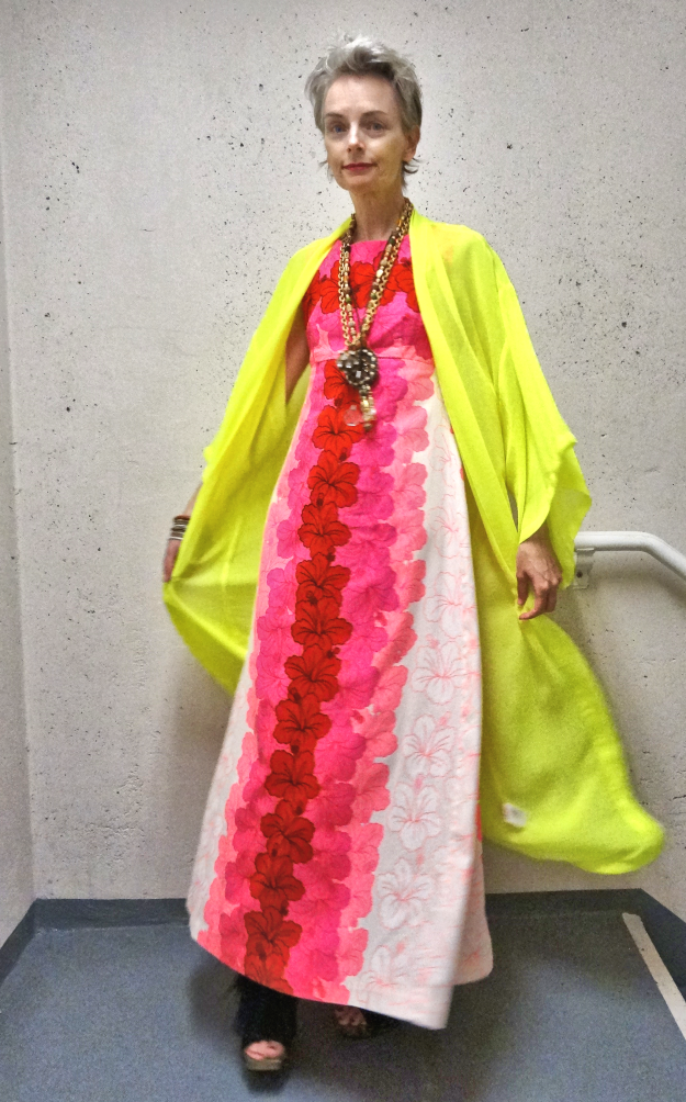 Neon yellow robe enhances sleuthy appeal, Mel Kobayashi, Bag and a Beret