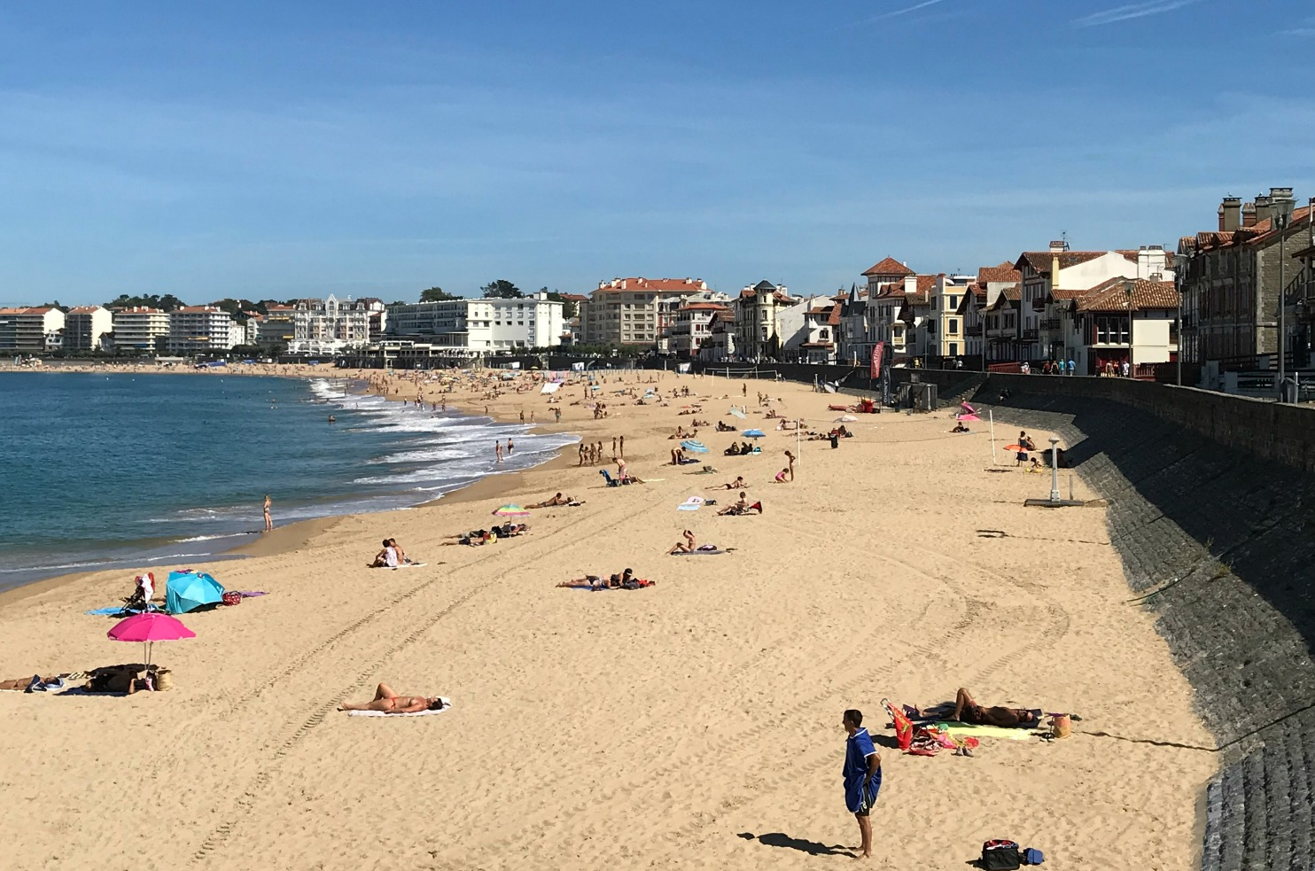 Enjoying September sun on St-Jean-de-Luz beach