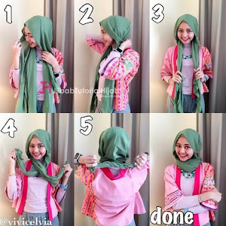Gambar Tutorial Hijab Modern Simple untuk Ke Kampus Bagi Para Hijabers