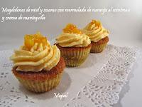 Magdalenas de miel y sésamo con mermelada de naranja al Cointreau y crema de mantequilla