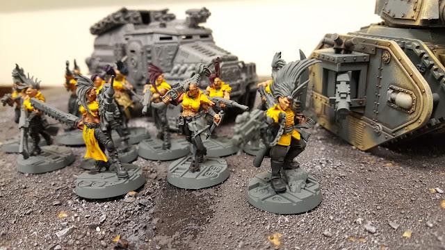 female astra militarum imperial guard armageddon steel legion leman russ tank infantry escher gang