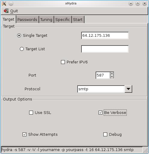Interfejs programu do odzyskiwania hasła FTP o nazwie xHydra/HydraGTK