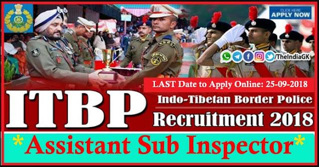 ITBP Assistant Sub Inspector Recruitment 2018