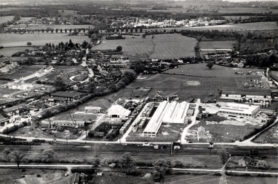 Massils of Marshmoor, Welham Green, centre-left of image taken in 1952 Image was marked by Aerofilms Ltd for photo editing from the Britain From Above series