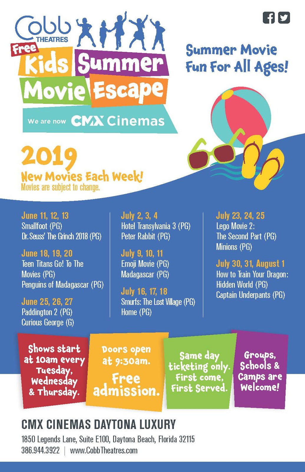Cobb Theaters Free Summer Movies ~ 2019 | Flagler County Family Fun