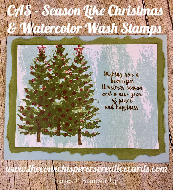 CAS, Clean & Simple, Season Like Christmas, Watercolor Wash, Stamps, Christmas Card, Stampin Up
