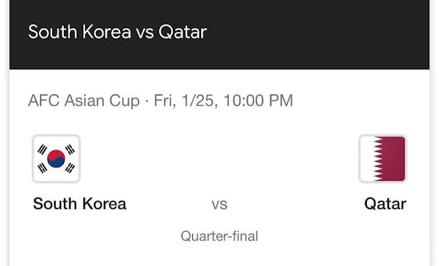 South Korea vs Qatar Live Streaming AFC 2019 (25.1.2019)