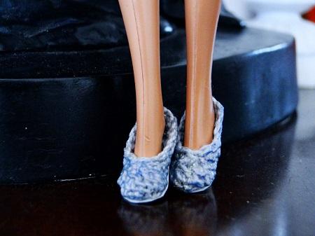 Sapatos de crochê  com salto de biscuit