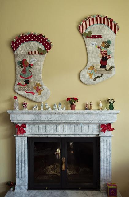 Botas de Navidad. Aplicaciones patchwork