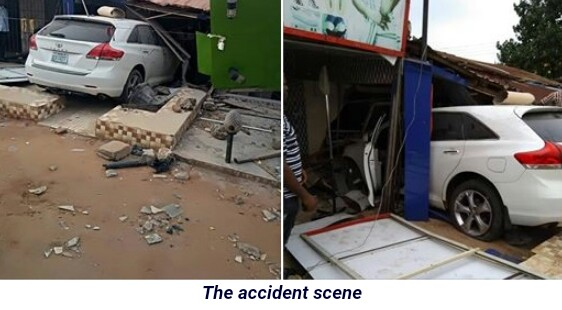 Woman Miraculously Escapes Death After Speeding Car Rammed Into Her Shop In Asaba (Photos)