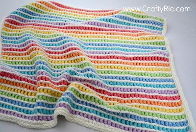 Gorgeous Rainbow Crochet Blanket by CraftyRie