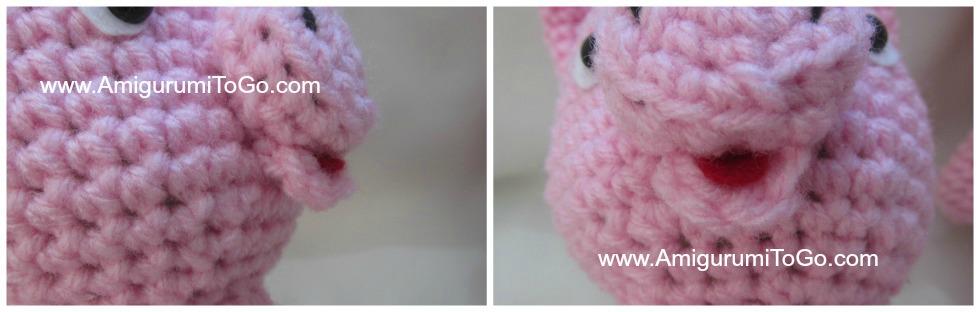 coser boca cerdito amigurumi
