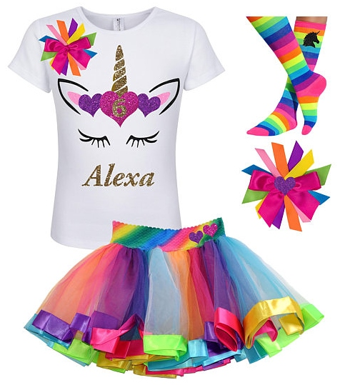 80s Unicorn 6th Birthday Tutu Costume for Girls