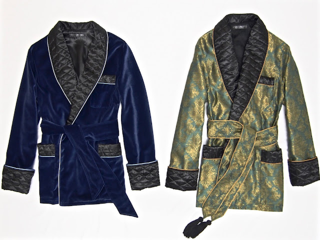 Mens smoking jacket cotton velvet quilted robe silk paisley