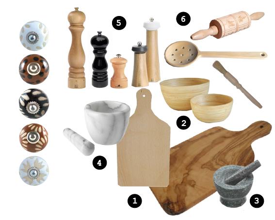 boutons de meuble brun, noir et naturel