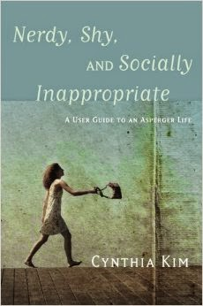 Book cover: Nerdy, Shy, and Socially Inappropriate by Cynthia Kim. Image depicts a woman shown in profile, wearing a thigh-length, sleeveless, flowered dress, walking down a street and swinging a purse that she holds onto by its strap.