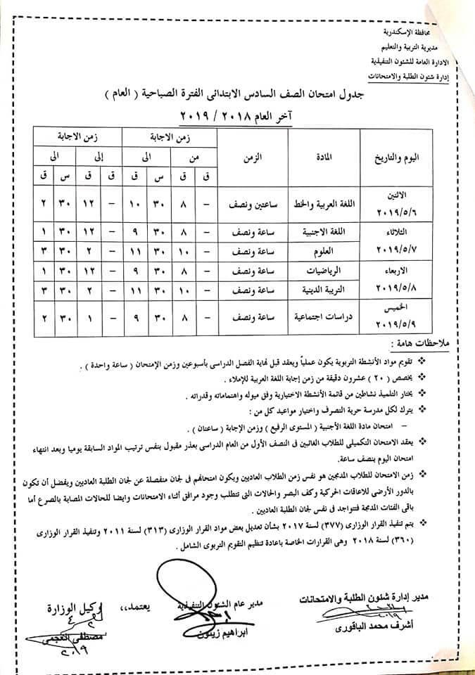جدول امتحانات الصف السادس الابتدائي 2019 آخر العام محافظة الاسكندرية