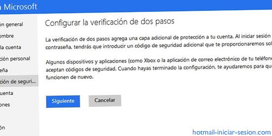 verificación de dos pasos de Outlook