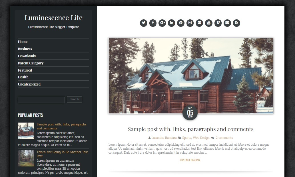 Luminescence Lite Blogger Template