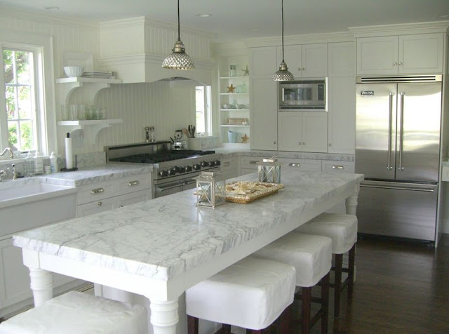 slipcovered stools cape code martha's vineyard coastal kitchen design interior