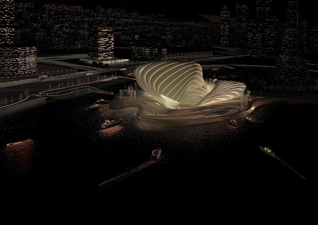 Photo of new Busan opera house at night as seen from the air
