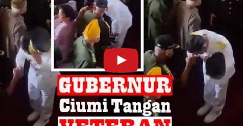 Salut! Gubernur Ini Ciumi Tangan Para Veteran Satu Persatu Usai Upacara Kemerdekaan (Video)