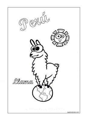láminas para colorear de Perú
