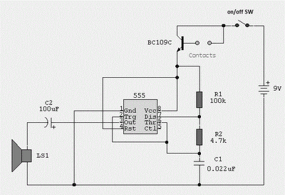 WATER ACTIVATED ALARM USING IC 555 CIRCUIT SCHEMATIC