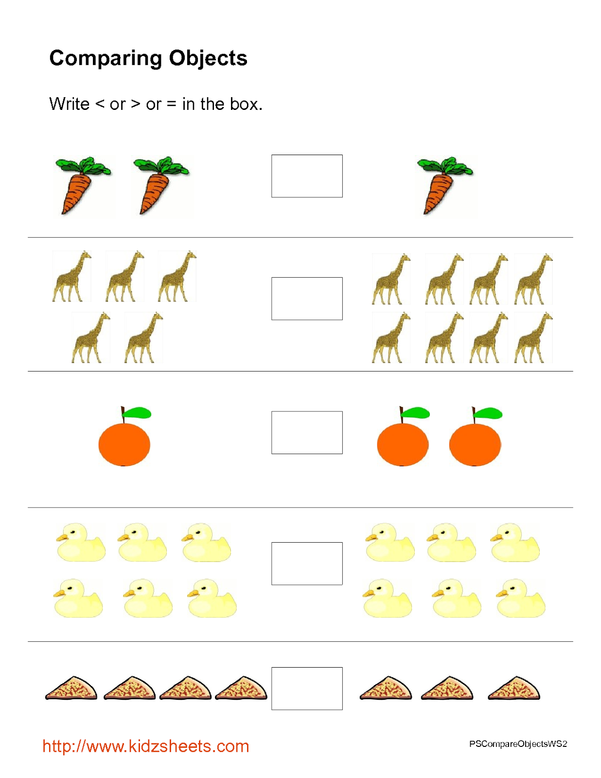 Kidz Worksheets Preschool Object Comparison Worksheet2
