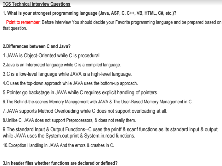 tcs company placement technical interview questions and answers pdf - Interview Question And Answers