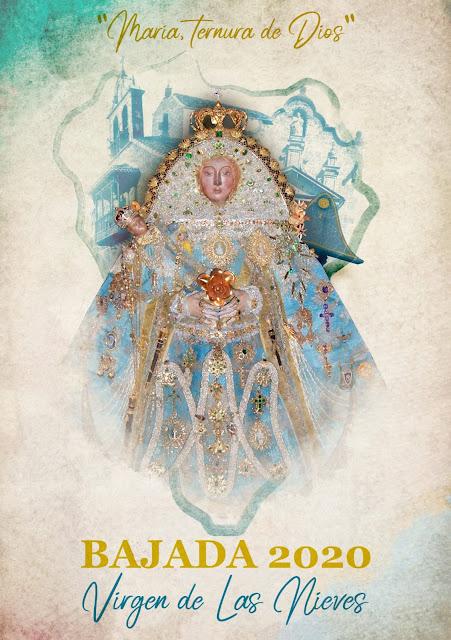 En el 340 aniversario de la Bajada de la Virgen de las Nieves, repican todas las campanas y se coloca el cartel de su LXIX edición