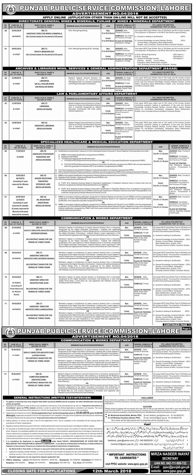 Jobs In Punjab Public Service Commission PPSC Lahore 2018 for 64 Vacancies