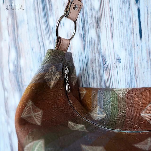 hobo, shoulder bag, upholstery, washpapa, lamina, gold, Earthtone, rainbow, #innywymiarszycia, Inny Wymiar Szycia, washable paper, vegan leather, jacquard,