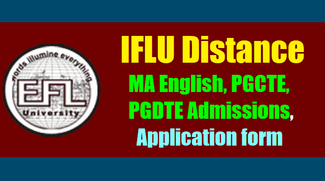 IFLU(SDE) Distance MA English, PGCTE, PGDTE Admissions, Application form 2017