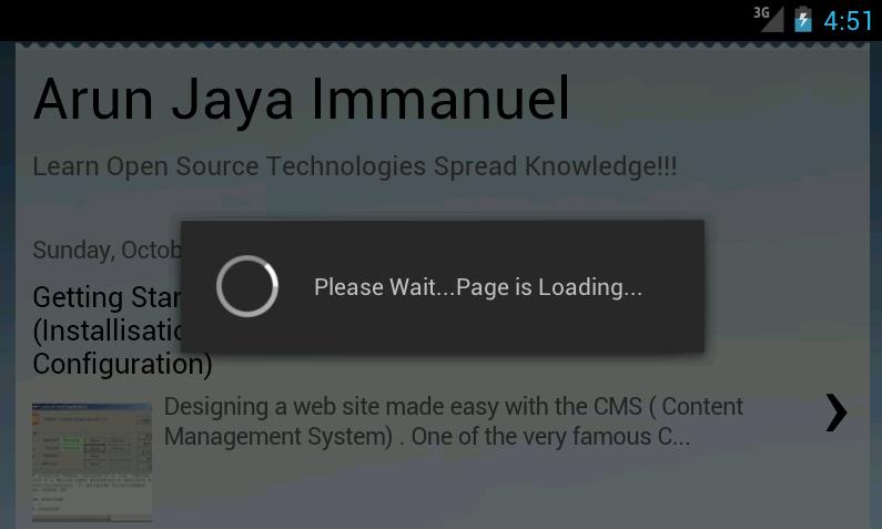 Arun Jaya Immanuel: Android Web View - Progress Dialog, Full Screen