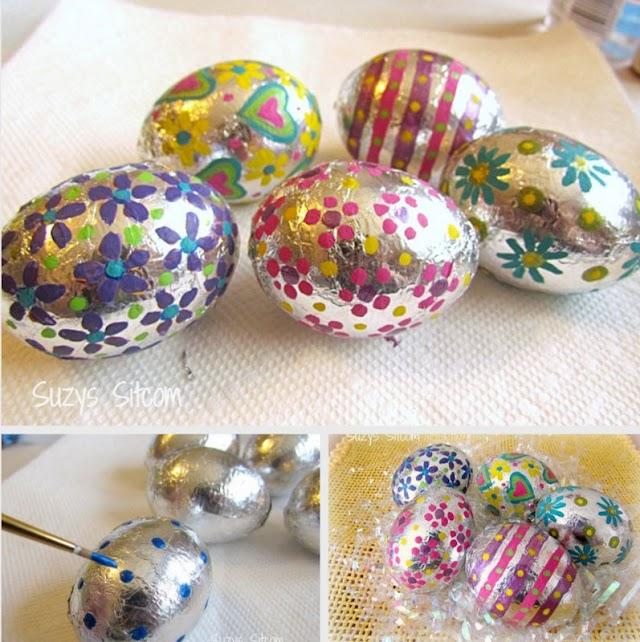 Διακόσμηση πασχαλινών αυγών με αλουμινόχαρτο