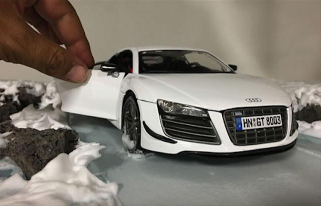 Espectacular producción de fotos de Audi con autos miniatura
